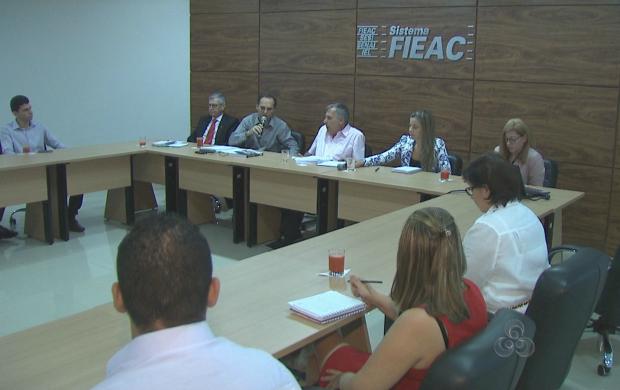 Reunião aconteceu na Federação das Indústrias, em rio Branco (Foto: Reprodução TV Acre)