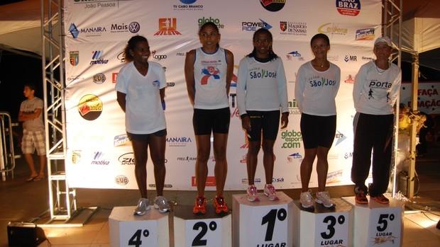 Maria de Lourdes venceu a prova e a paraibana Ednalva Laureano conquistou a quarta colocação (Foto:  Lucas Barros / Globoesporte.com/pb)