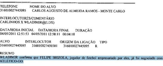 Trecho do inquérito da Polícia Federal mostra envolvimento de Wladimir Garcêz na transferência de Felipe Brisola para o Atlético-GO (Foto: Divulgação)