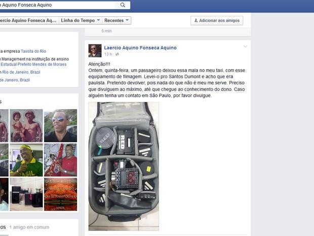 Taxista devolveu mala com equipamentos que valiam R$ 140 mil no Rio (Foto: Reprodução/Facebook)