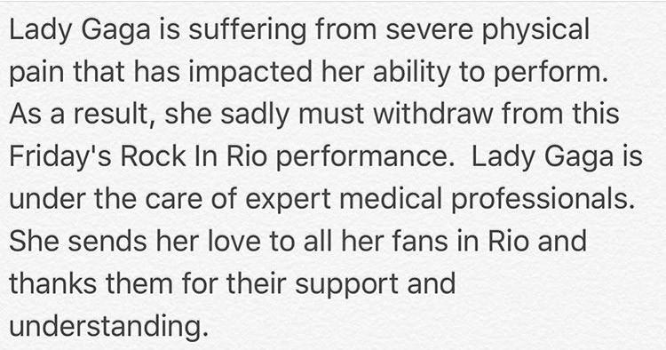 Declaração de médicos da Lady Gaga (Foto: Reprodução/Instagram)