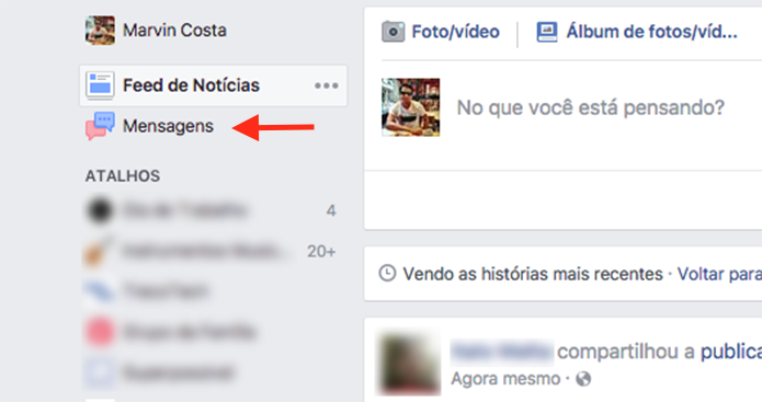 Opção para acessar a página de registro de mensagens de um perfil do Facebook (Foto: Reprodução/Marvin Costa)