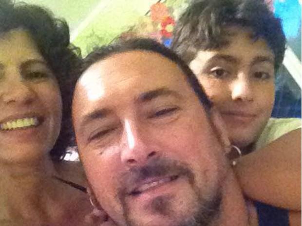 Pipa com o marido Maurcio e o filho Vicente, de 10 anos (Foto: Acervo Pessoal)