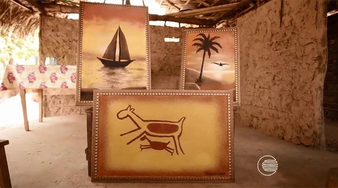 Artista usa areia de pedra em pinturas (Foto: Reprodução/Rede Clube)