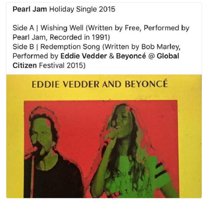 Fãs do Pearl Jam repercutem o single da banda com Beyoncé (Foto: Reprodução)