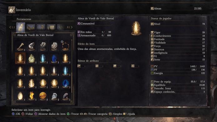 Dark Souls 3: almas dos chefes ficam organizadas no inventário (Foto: Reprodução/Victor Teixeira)
