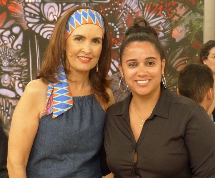 Convidada com a Fátima  (Foto: Vinícius Cunha/Gshow)