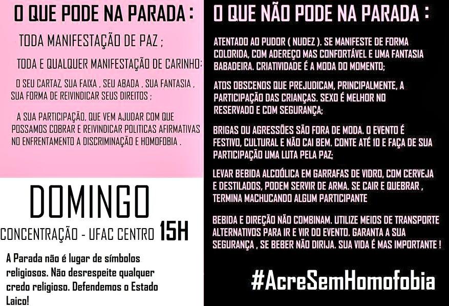 Cartilha mostra recomendações aos participantes da X Parada do Orgulho LGBT de Rio Branco (Foto: Divulgação )