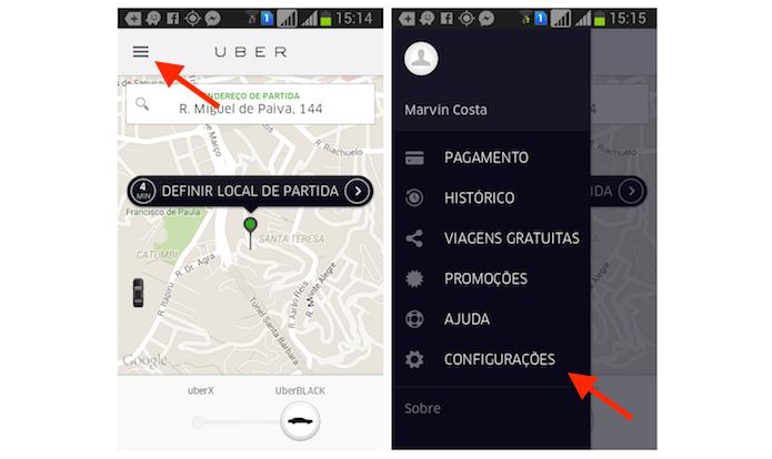 Acessando as configurações do Uber no Android (Foto: Reprodução/Marvin Costa)