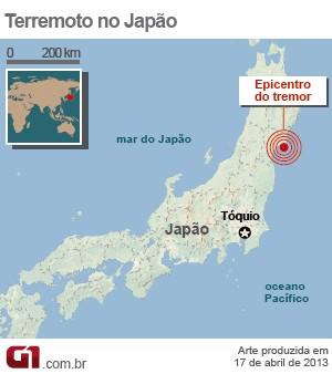 mapa terremoto japão 17/4 VALE ESTE (Foto: 1)