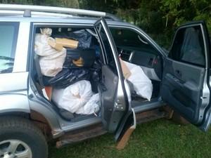 Veículo estava carregado de entorpecente em Ponta Porã (Foto: Divulgação/ PRF)