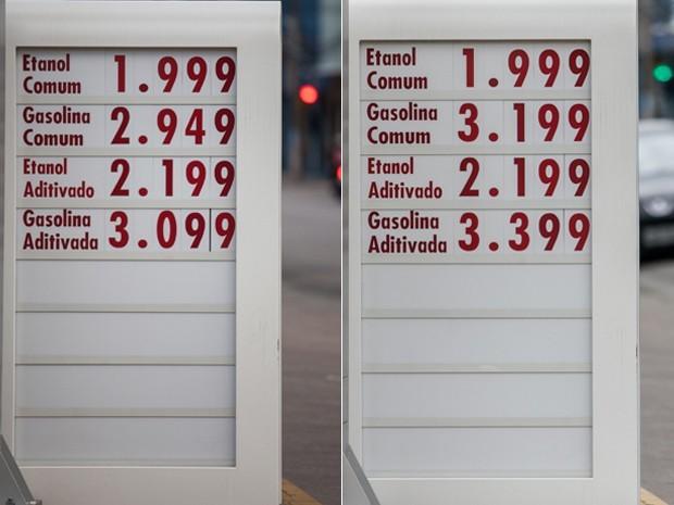 Na Rua Rito Peixoto, na Zona Sul, posto manteve o preço do etanol inalterado entre sexta e segunda, mas aumentou o da gasolina em R$ 0,25  (Foto: Marcelo Brandt / G1)