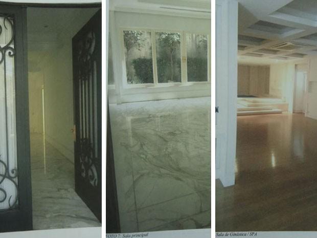 Porta, sala com piso de mármore e salão de ginástica e spa da mansão da família Abdelmassih (Foto: Reprodução/ site Lut Leilões)