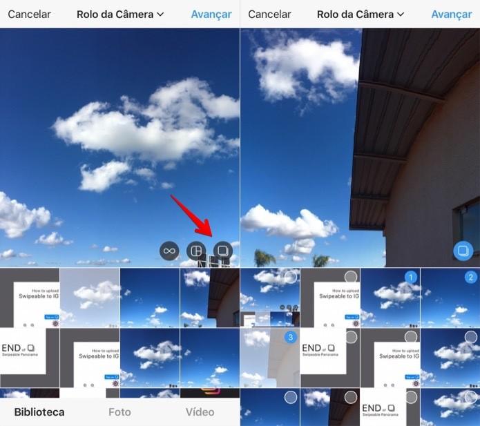 Ative a opção para selecionar várias fotos (Foto: Reprodução/Helito Bijora)