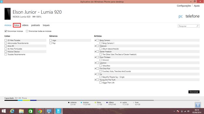 Aplicativo desktop do Windows Phone 8 também faz transferências de fotos e vídeos para computadores (Foto: Reprodução/Elson de Souza)