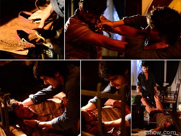 Laerte deixa Virgílio desacordado e depois esconde o corpo (Foto: Ellen Soares/ TV Globo)