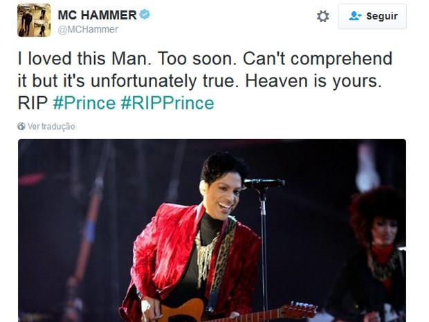 O rapper MC Hammer homenageira Prince no Twitter (Foto: Reprodução/Twitter)
