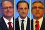 Alckmin tem 57%, Skaf, 24%, e Padilha, 14% (Marcos Bezerra, Alex Silva, Ale Frata/Estadão Conteúdo)