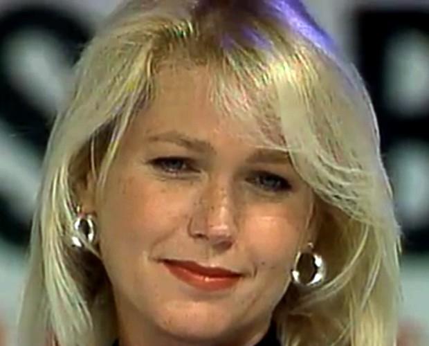 Xuxa foi ao Arquivo Confidencial em 1996 e anunciou sua gravidez em 1997 (Foto: Domingão do Faustão / TV Globo)