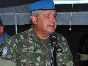 General Jaborandy discursa durante evento no Haiti (Foto: UN)