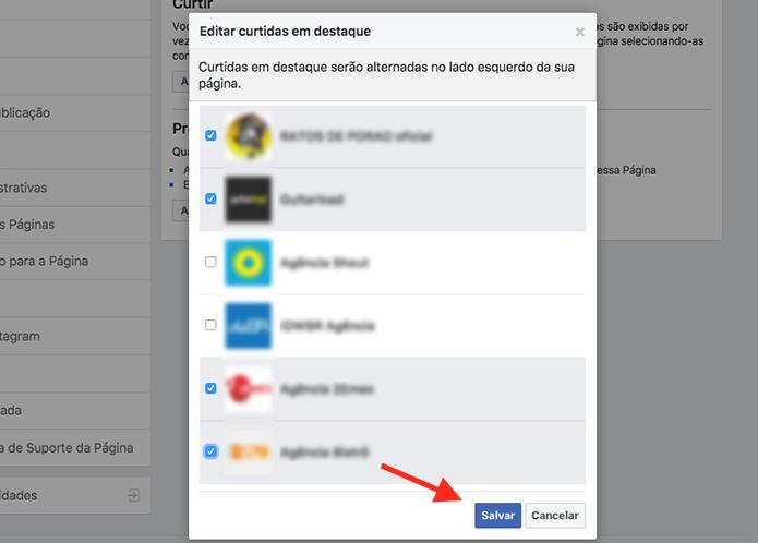 Opção para adicionar curtidas em destaque em uma página do Facebook (Foto: Reprodução/Marvin Costa)