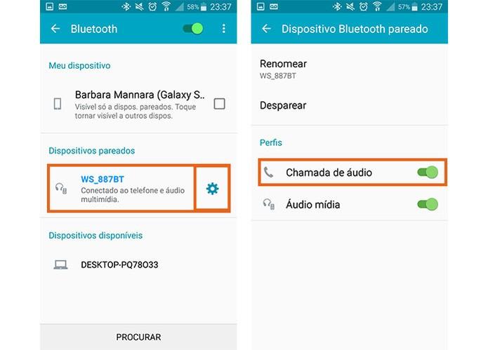 Conecte a caixa de som Bluetooth com o celular e em seguida habilite a função para atender chamadas (Foto: Reprodução/Barbara Mannara)