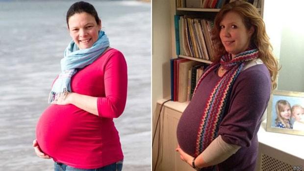 Penelope (esq.) e Eleanor têm a mesma data prevista para o parto, mas a chance de isso acontecer é de uma em 500  (Foto: BBC)