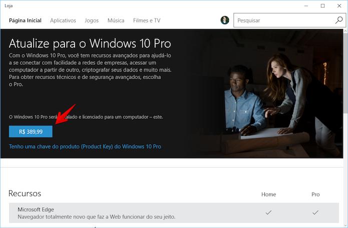 Adquirindo licença para o Windows 10 Pro (Foto: Reprodução/Helito Bijora)