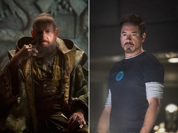 À esquerda, Ben Kingsley na pele de Mandarim, o terrorista de 'Homem de Ferro 3'; à direita, Robert Downey Jr. em cena como Tony Stark, identidade civil do protagonista (Foto: Divulgação/Disney)
