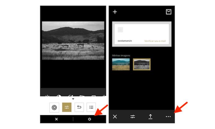 Iniciando o processo para salvar a imagem editada através do VSCO Cam para iPhone (Foto: Reprodução/Marvin Costa) (Foto: Iniciando o processo para salvar a imagem editada através do VSCO Cam para iPhone (Foto: Reprodução/Marvin Costa))