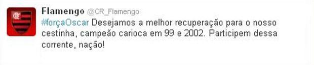 Basquete Twitt do Flamengo sobre o Oscar  (Foto: Reprodução/Twitter)