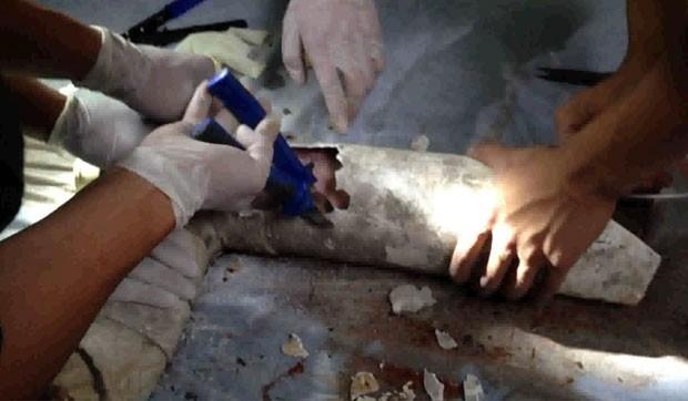 Bombeiros cortam cano para retirar bebê (Foto: AFP)