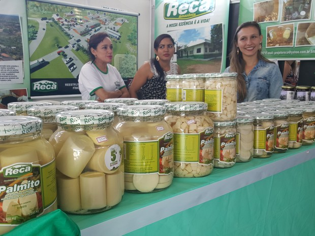 Stand do Reca, com palmitos, foi montado na 5ª Rondônia Rural Show (Foto: Pâmela Fernandes/ G1)