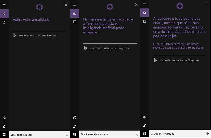 Cortana responde questões filosóficas (Foto: Reprodução/Tassia Moretz)