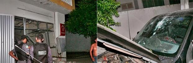 Além da agência, que ficou destruída, os criminosos ainda atiraram várias vezes em uma caminhonete que estava estacionada em frente ao prédio (Foto: Francisco Coelho/Focoelho.com)