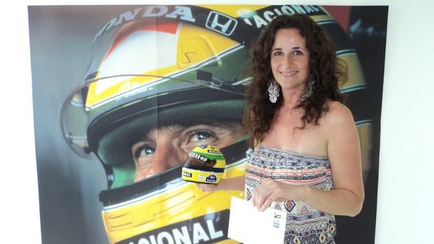 Maria Grazie, fã italiana, visita o Instituto Ayrton Senna (Foto: Divulgação IAS)