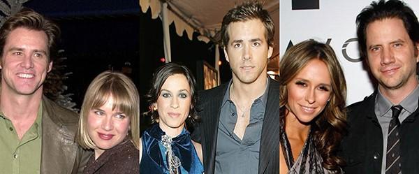 Renée Zellweger e Jim Carrey, Alanis Morissette e Ryan Reynolds, Jennifer Love Hewitt e Jamie Kennedy (Foto: Getty Images)