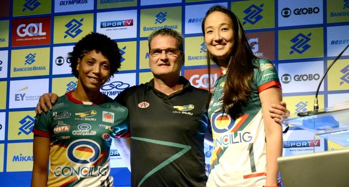 Vôlei Bauru, Natiele, Chico dos Santos, Ana Tiemi, Superliga 2015/16 (Foto: Divulgação / CBV)