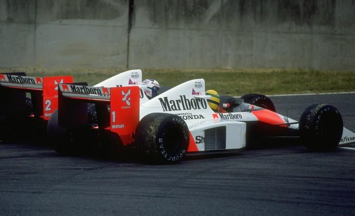 Ayrton Senna e Alain Prost em um dos lendários duelos da Fórmula 1 em 1989 (Foto: Getty Images)