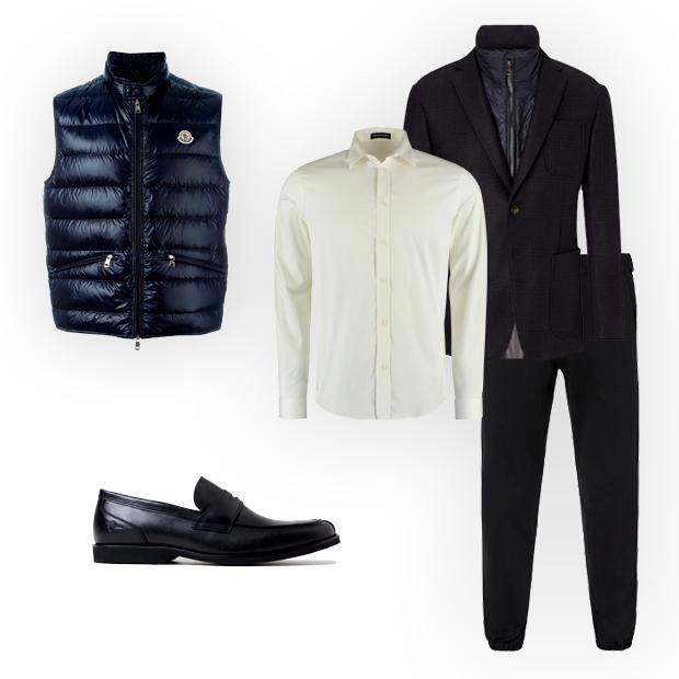 Colete de doudoune Moncler (R$ 2.730 na Farfetch), camisa Herchcovitch;Alexandre (R$ 379), blazer e calça Tommy Hilfiger (sob consulta), mocassim Richards (R$ 459) (Foto: Divulgação)