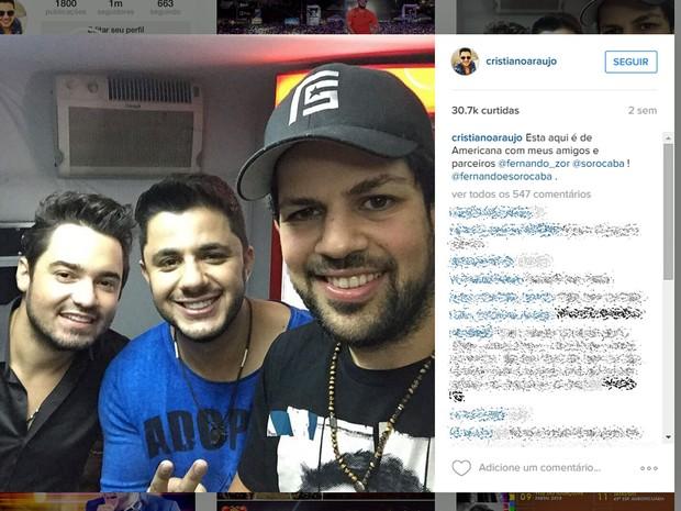 Cristiano Araújo com os músicos Fernando e Sorocaba, em Americana (Foto: Reprodução/Instagram)