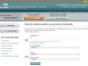Candidato pode consultar o resultado no alto da página do Sisutec (Foto: Reprodução)