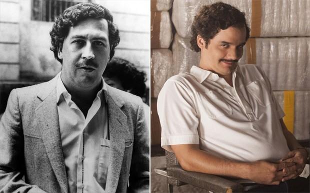 Pablo Escobar e sua versão interpretada por Wagner Moura na série 'Narcos' (Foto: Divulgação)