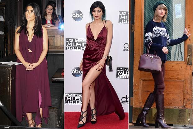 Marsala - Kim Kardashian, Kylie Jenner e Taylor Swift (Foto: Agência Getty Images  - Agência Getty Images -  AKM-GSI / AKM-GSI)