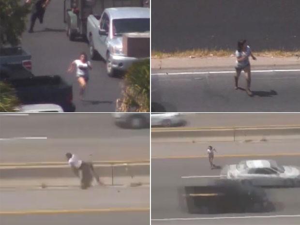 Ladra foi filmada fugindo em alta velocidade da polícia e se arriscando em uma rodovia movimentada (Foto: Reprodução/LiveLeak/XcriscofistX)