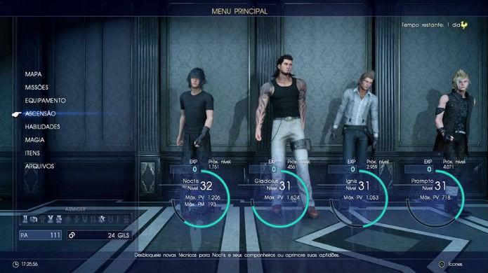 Final Fantasy XV: Selecione a aba Ascensão (Foto: Reprodução / Thomas Schulze)