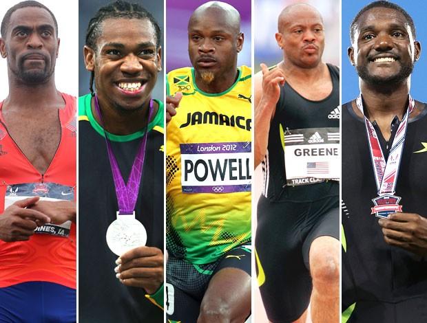 Velocistas do atletismo que já se envolveram em doping (Foto: Editoria de Arte)