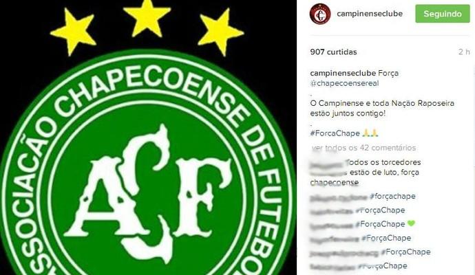 Campinense lamenta a queda do avião da Chapecoense (Foto: Reprodução / Instagram)