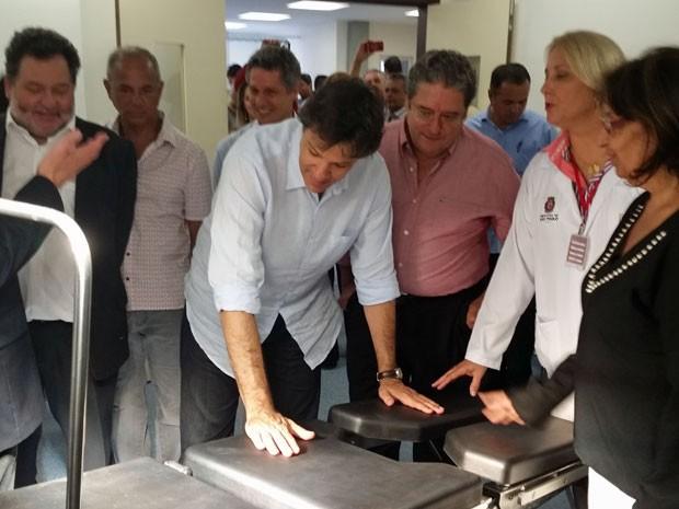 Haddad durante inauguração do Hospital Dia São Miguel  (Foto: Tatiana Santiago/G1)