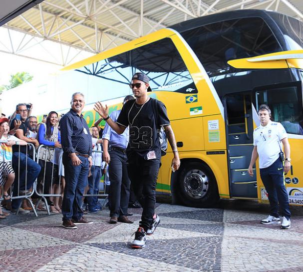 Neymar chega em Natal, palco do próximo compromisso da Seleção Brasileira, nesta segunda, 3 (Foto:  Lucas Figueiredo/CBF)